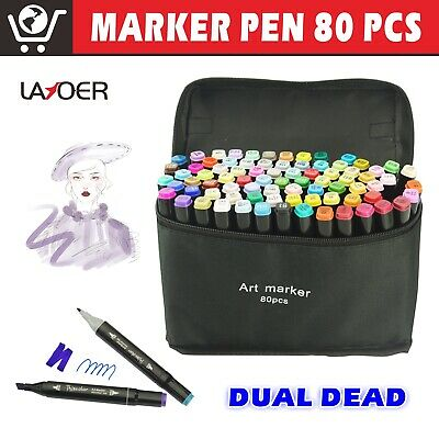 Marker Pen 80 Color Set Twin Tips Graphic Animation Art Sketch Black + Carry Bag