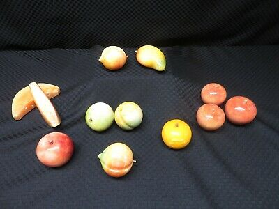 12pc Vintage Italian Alabaster Marble Stone Fruit: Apple Watermelon Peach Pepper