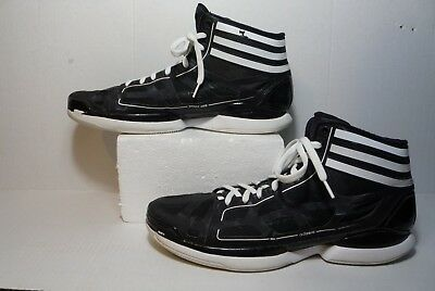 finest selection fc069 dfacf ADIDAS BLACK WHITE BASKETBALL SHOES G21732 Mens Size 14