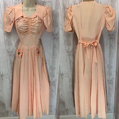 1930-40s True Vintage DRESS/GOWN~Apricot Taffeta Ruched Aline Prom AS-IS Sml