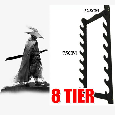 Katana Samurai Sword Holder Stand Wall Mount Bracket Hanger Eight Layers