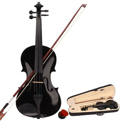 US New 4/4 Full Size Natural Acoustic Violin Case Bow Rosin Violin Fiddle Bow