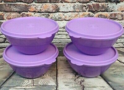 Tupperware Set of 4 Wonderlier (2 Cup) Violet Purple Bowls Matching Airtight Lid