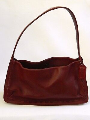e44215b06b0b Coach Classic Red Leather 9468 Small Hobo Shoulder Bag Woven Edge