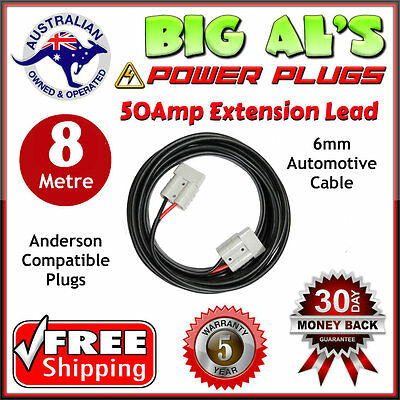 8m 50 Amp Anderson Plug Extension Lead 6mm Twin Core Automotive Cable Wire