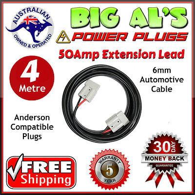 4m 50 Amp Anderson Plug Extension Lead 6mm Twin Core Automotive Cable Wire