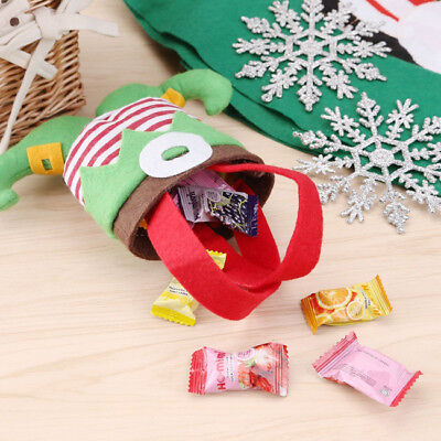 Christmas Elf Spirit Boots Shoes Candy Cookie Gift Bag Stocking  Xmas Decor B