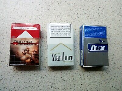 Lot 3 EMPTY Cigarette Packs Marlboro Winston with Advertising