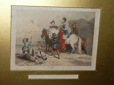 ANTIQUE c1850s HAND COLOURED LITHO TITLED THE HAWKING PARTY BY G. C. LEIGHTON