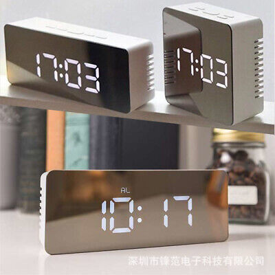 New LED Digital Alarm Clock Night Light Thermometer Display Makeup Mirror Lamp