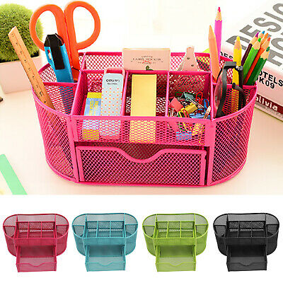 Mesh Metal Pen Holder Desk Tidy Organiser Stationery Office School Container