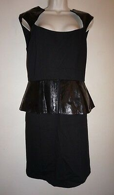 c46259b0915 Alice + Olivia Black Cecil Leather Panel Peplum Dress size 10 NWT  550