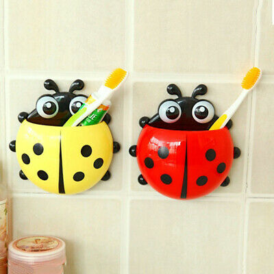 Bathroom Shelves Home Improvement 1pc Cute Novelty Ladybug Toothbrush Holder Toiletries Toothpaste Holder Bathroom Sets Suction Tooth Brush Container
