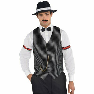 1920s Gangster Mafia Pinstripe Waistcoat Vest With Gold Chain Mens Costume