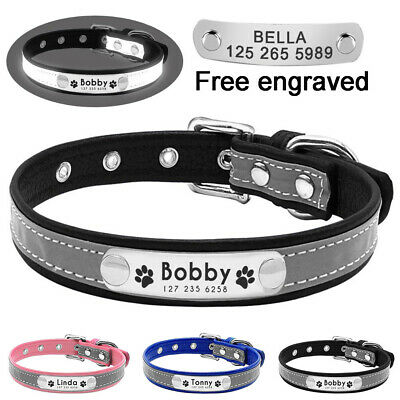 Leather Personalised Dog Collar Pet Cat Custom Name ID Tags Engraved Reflective