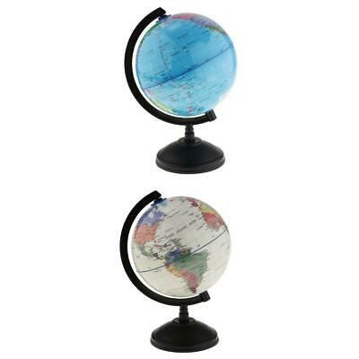 World Globe Earth Ocean Atlas Map Rotate Stand Kids School Geography 2-set