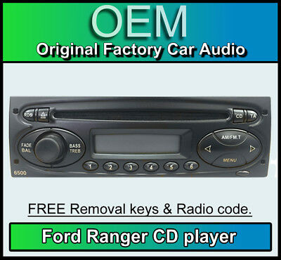 Ford Ranger CD player, Ford 6500R car stereo with radio code, removal keys