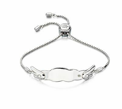 D For Diamond - Angel Wing Toggle Bracelet Personalisation Engraving Girl Gift