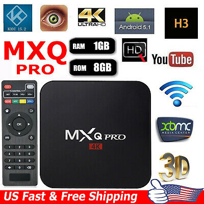 2019 MXQ Pro 4K 64Bit Android7.1 Quad Core Smart TV Streamer Box KODI 1GB+8GB US