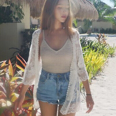 Summer Beach Lace Floral Embroidered Cardigan Jacket Casual Tops For Women B