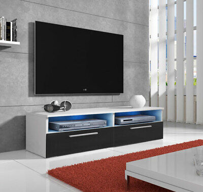 ¡Mega rebajas! Mueble de TV modelo Cozumel (1m) color blanco y negro con LED