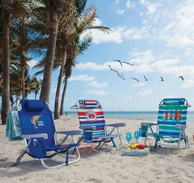 The Tommy Bahama Folding Backpack Beach Chair, 5 Positions, Adjustable Pillow