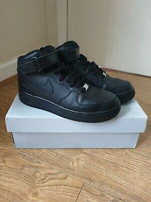 brand new cfe2b 15262 Nike Air Force 1 Mid GS Unisex Kids High Top Trainers Uk 5.5 Black Leather