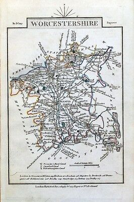 WORCESTERSHIRE John Cary  Hand Coloured Miniature Antique County Map 1819