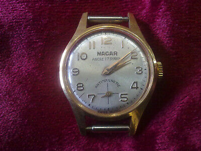 gold plated Vintage Old Swiss made women Wrist Watch  NACAR- WORK