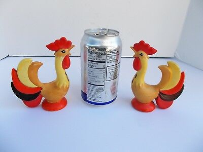 MCM Holt Howard Rooster Salt & Pepper Shakers Red & Yellow  Retro Mod 1960