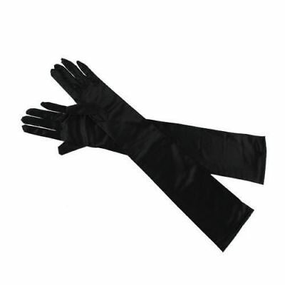 Ladies Long Black Opera Evening Satin Finger Gloves Party Dress Prom
