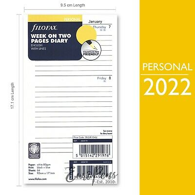 Filofax 2020 Personal size Diary - Week On Two Pages with Lines Insert 20-68418