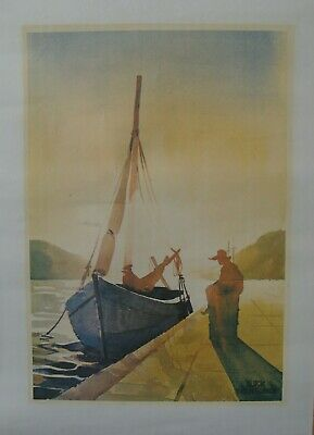 "Vintage - Larry Gluck - ""Sunset on the Waterfront"" - Print"