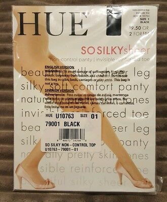 d62c281ef4e HUE SO SILKY sheer Non-Control Panty Invisible Reinforced toe Sz 1 Black   10763
