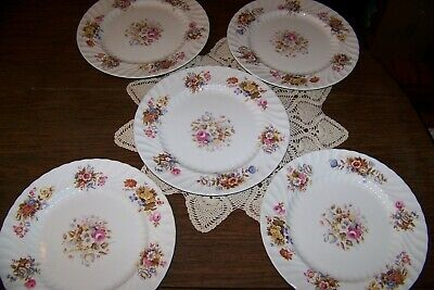 Aynsley China - Summertime - Set of Five 10 3/8-inch Dinner Plates - Well Used