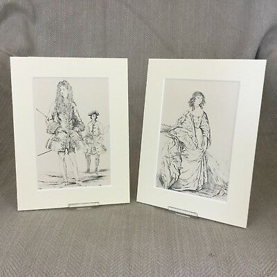 Antique Prints Costume King Charles I Queen Anne Historical Fashion Textiles