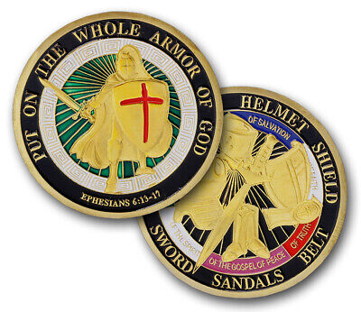 PUT ON THE WHOLE ARMOR OF GOD EPHESIANS 6:13-17 Color Challenge Coin
