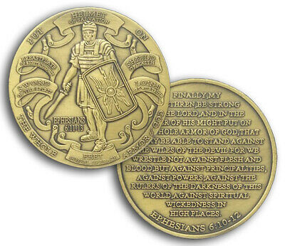 PUT ON THE WHOLE ARMOR OF GOD EPHESIANS 6:10-12 Bronze Challenge Coin