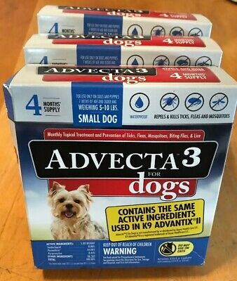 Advecta 3 For Small Dogs 5-10 lbs. 12 Month (1 YEAR) Supply Flea Tick Lice Flies