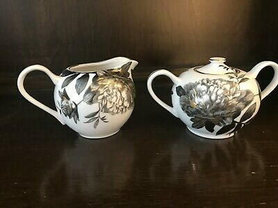 Grace's Teaware Peony Black and Gold - Sugar Bowl w/ Lid and Creamer