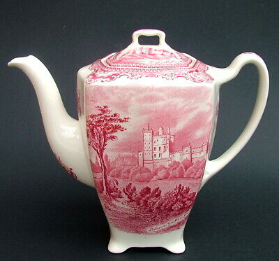 Vintage Johnson Brothers Old Britain Castles Red 1.75pt Coffee Pot & Lid VGC