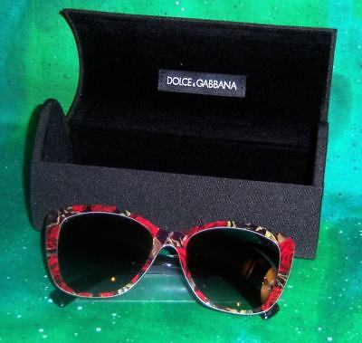 221ceec483 New Rare Authentic Dolce Gabbana 4216 Printing Roses On Black Women  Sunglasses