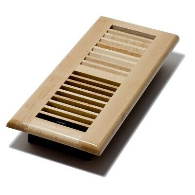 Decor Grates WML412-N 4X12in Floor Register Laquered Natural Maple, New