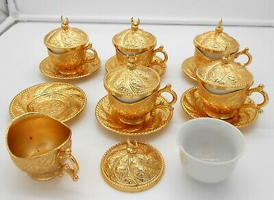 Gold coffee set of 6 cups with saucers and lids/Turkish, Arabic, espresso coffee