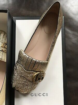 60fbf21d3f0  650 GUCCI SHOES Studded Silver Leather Gold Metal Studs Slingbacks ...
