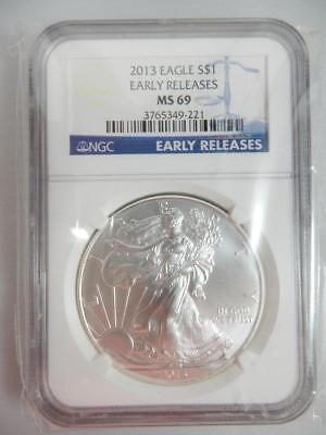 2013 American Silver Eagle, NGC MS69, ASE S$1, EARLY RELEASE    #K33