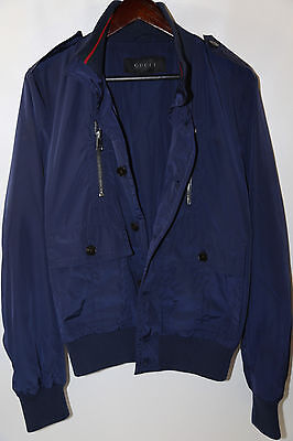 a554f2cb6 116 GUCCI Men's Blue Padded Iconic Bomber Jacket Size 38 RETAIL ...