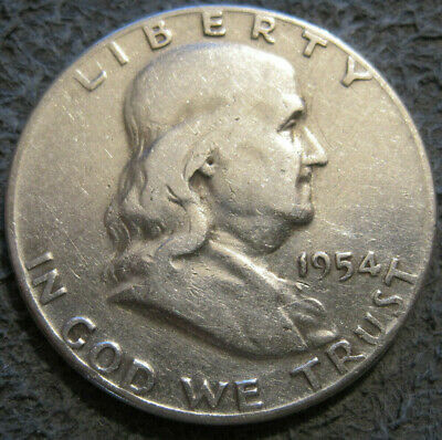 As Shown - 1954 P Franklin Half Dollar // 90% Silver // Mc 819