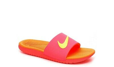 e13a12343e3a Youth Nike Kawa Slides GS Size 4Y 5Y 6Y Orange Pink Volt 819352 601 Kids