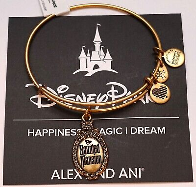 NEW Disney Parks Alex And Ani Haunted Mansion Logo Gold Bangle Bracelet